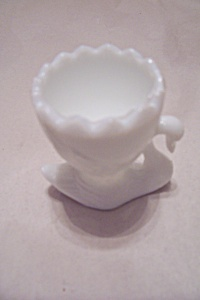 Milk Glass Swan Toothpick Holder