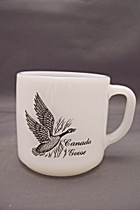 Federal Milk Glass Mug With Bird Decals (Image1)