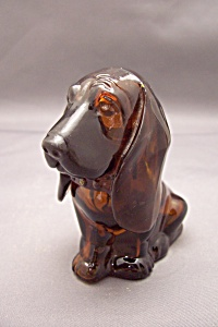 Avon Amber Glass Dog Bottle