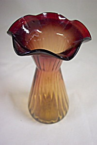 Pilgrim Handblown Cased Art Glass Amber Vase (Image1)