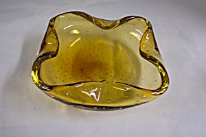 Murano Handblown Cased  Amber Art Glass Folded Bowl (Image1)