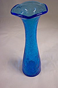 Pilgrim Blue Crackle Art Glass Bud Vase (Image1)