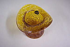 Smith Daisy & Button  Handmade  Amber Art Glass Hat (Image1)