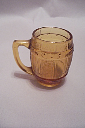 Amber Glass Barrel Shaped Mug Toothpick Holder