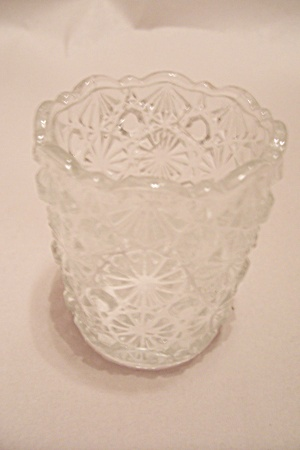 Crystal Glass Daisy & Button Toothpick Holder