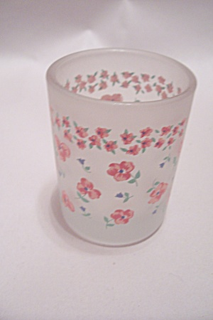 Vintage Satin Glass Floral Pattern Toothpick Holder