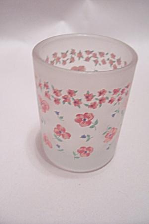 Vintage Satin Glass Floral Pattern Toothpick Holder (Image1)