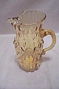 Hand Blown Amber Art Glass Pitcher (Image1)