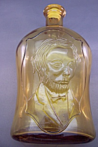 Decorative Amber Glass Abe Lincoln Bottle (Image1)