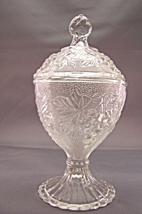 Grape Pattern Crystal Glass Covered Candy Dish
