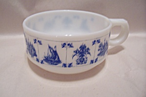 Fireking Blue Trimmed Handled Soup Bowl