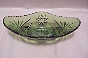 Scarce Green Early American Prescut Glass Godola Bowl (Image1)