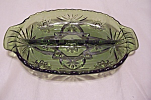 Green Early American Prescut Glass Relish Dish (Image1)