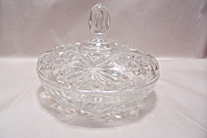 "Eapc 7-1/4"" Crystal Glass Candy Dish With Lid"