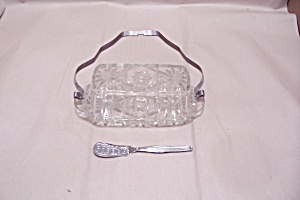 EAPC Crystal Glass Butter Dish With Knife & Handle (Image1)
