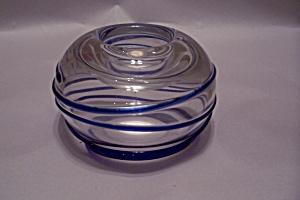 Bohemian Handblown Crystal/Blue Art Glass Candleholder (Image1)