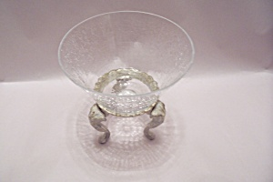 Crystal Crackle Glass Bowl On Stand (Image1)