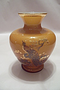 Jaspanese Cased Art Glass Vase With Pheasant Motif