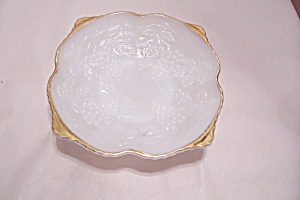 Anchor Hocking Milk Glass Grape Pattern Fruit Bowl (Image1)