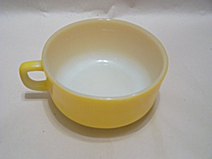 Large Yellow FireKing Handled Soup Bowl (Image1)