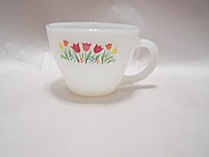 FireKing Tulip Decal Milk Glass Cup (Image1)