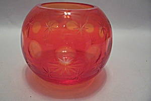 Bohemian Incised Art Glass Bulbous Vase