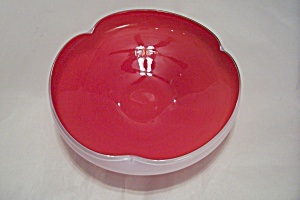 Murano Reddish-orange Art Glass Folded Bowl
