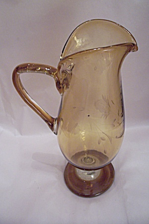 Tall Light Amber Handblown Incised Art Glass Pitcher