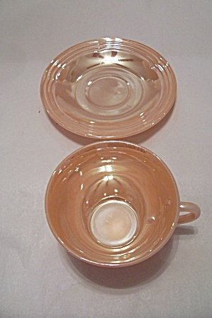 FireKing Peach Lustre Three Bands Saucer (Image1)