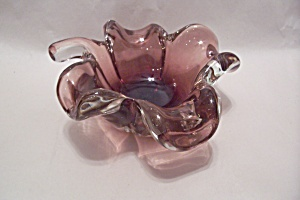 Vintage Murano Handblown Folded Art Glass Bowl (Image1)