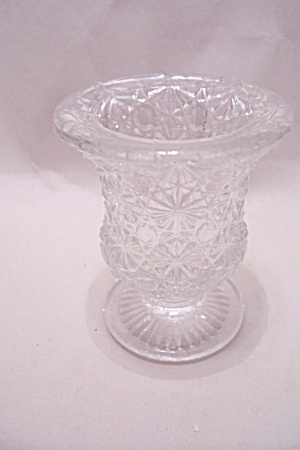 Vintage Daisy & Button Crystal Glass Toothpick Holder