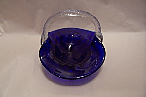 MURANO Handblown Cobalt Blue Cased Art Glass Basket (Image1)