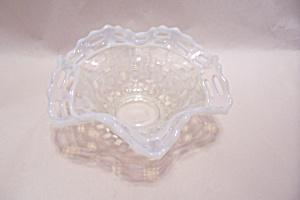 Opalescent Latticed Rimmed Folded Art Glass Bowl (Image1)