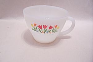 FireKing White Tulip Pattern Cup (Image1)
