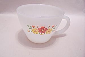 FireKing Flower Pattern White Cup (Image1)