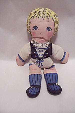 German Handsewn Fabric Girl Doll (Image1)