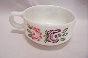 Fireking/anchor Hocking Handpainted Handled Soup Bowl