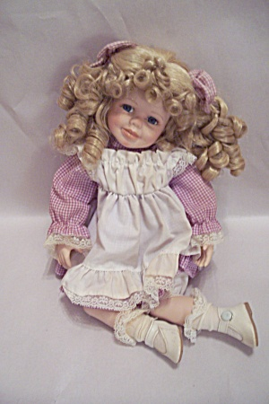 Porcelain & Cloth Blonde Haired Girl Doll (Image1)