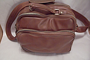 Leatherette 3-compartment Shoulder Camera Bag