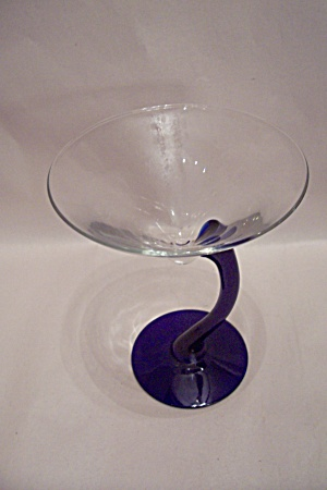 Art Glass Cobalt Blue & Crystal Margarita Glass