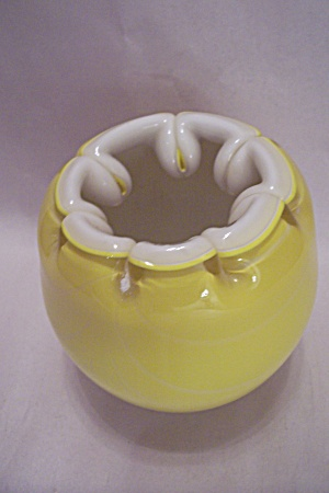 Yellow Handblown Cased Art Glass Bulbous Vase (Image1)