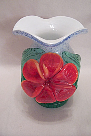 Handblown Cased Art Glass Flower Motif Vase (Image1)