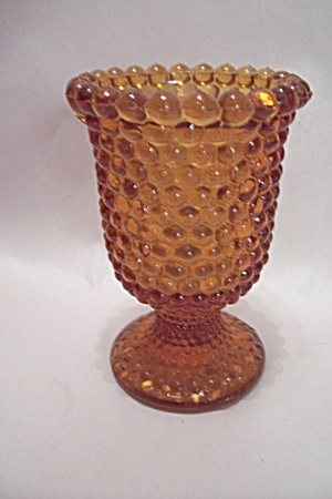Amber Hobnail Glass Pedestal Toothpick Holder (Image1)