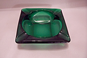 Fireking/anchor Hocking Forest Green Glass Ashtray