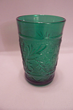Fireking Forest Green Sandwich Glass Juice Tumbler