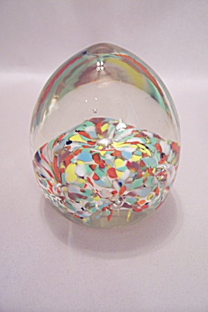 Multi-colored Abstract Form & Bubbles Paperweight