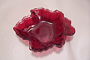FireKing/Anchor Hocking Ruby Red Maple Leaf Dish (Image1)