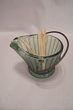 Green Glass Coal Bucket Toothpick Holder (Image1)