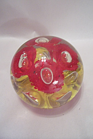 Very Large Handblown Floral Motif Art Glass Paperweight (Image1)
