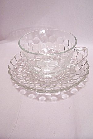 Fireking/anchor Hocking Bubble Pattern Cup & Saucer Set